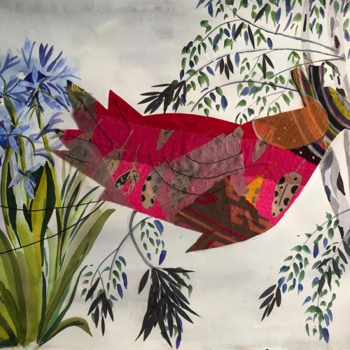 Exotic Bird collage by Moira Fraser-Steele