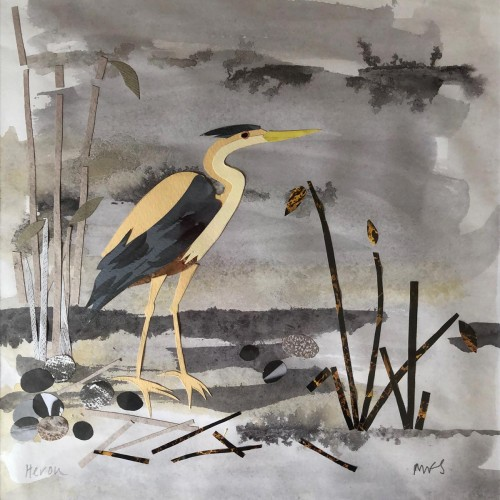 Heron collage and watercolour