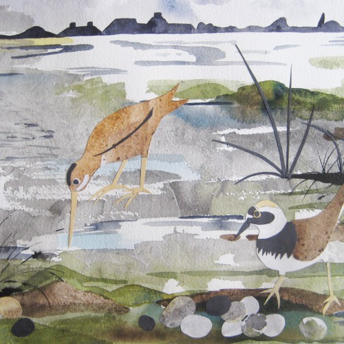 Low tide collage and watercolour